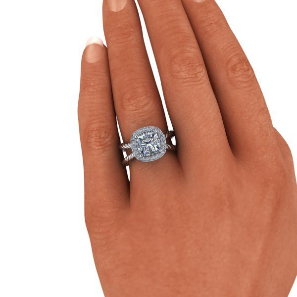 Forever One Colorless Moissanite Cushion Cut Split Shank Engagement Ring 2.23 CTW
