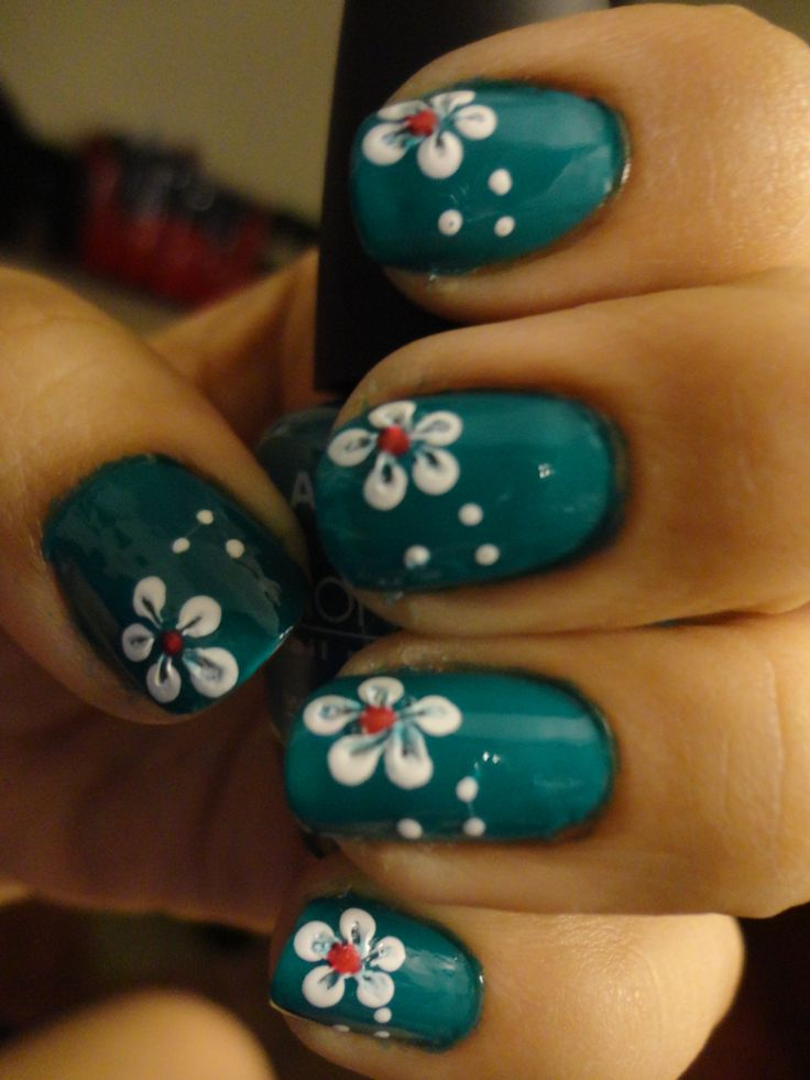 Simple Flower Nail Art Paint Nails Any Shade You Like Using A Bobby Pin Or Dotting Tool