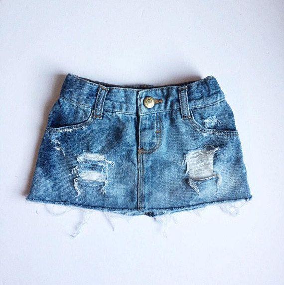 NEW Distressed Denim Skirt // Toddler Girls Acid Wash Jean