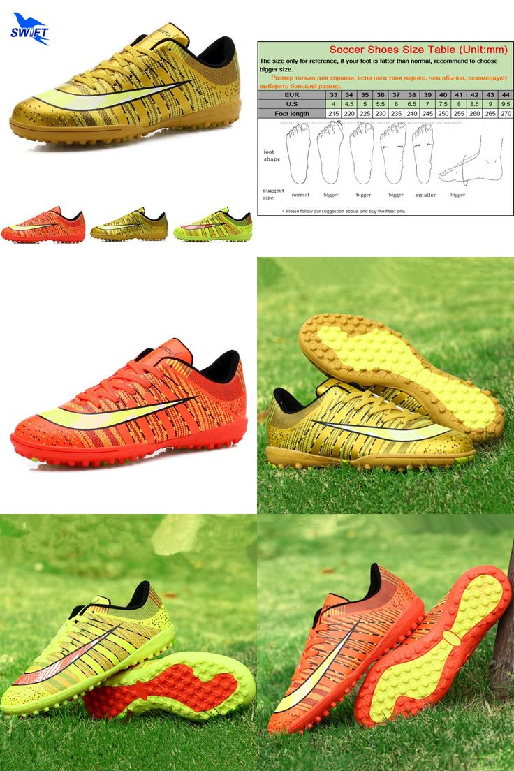 [Visit to Buy] New Striped Professional Mens Turf Soccer Cleats Male Anti Shock TF Football Shoes Cheap Women Futsal Boots Crampons De Foot #Advertisement