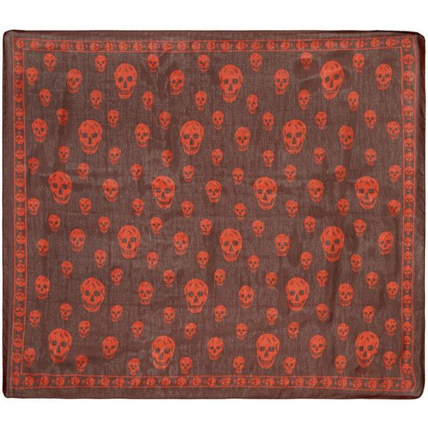 Alexander McQueen Red Skull Scarf ($240) ❤ liked on Polyvore featuring men's fashion, men's accessories, men's scarves, red, mens red scarves and mens silk scarves