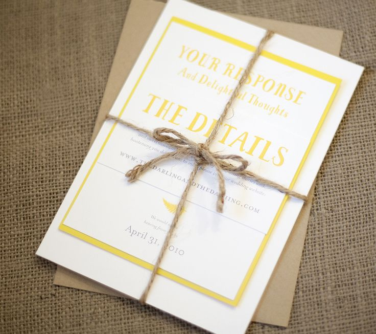 wedding invitation tied with ribbon%0A Yellow and kraft paper fern wedding invitations  with rustic jute twine   from Magpie Paper Works