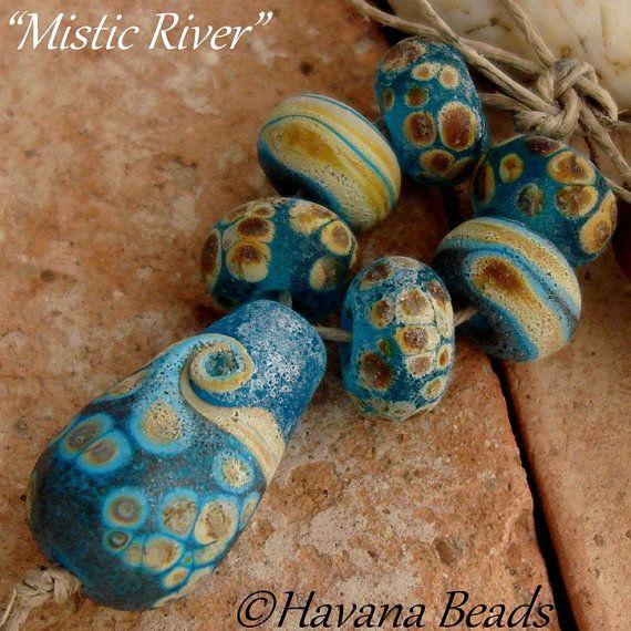 MISTIC RIVER  - Handmade Lampwork Glass Bead Set by Havanabeads.etsy.com