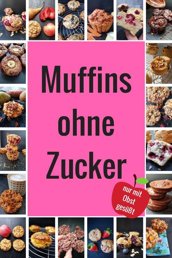 """Muffins ohne Zucker: Im Buch """"Zuckerfreie Muffins"""" findest Du 20 leckere Rezepte ohne Zucker: Blaubeer-Muffins, Bananenmuffins, Schoko-Muffins etc. #zuckerfrei #ohnezucker #zuckerfreibacken #muffins"""