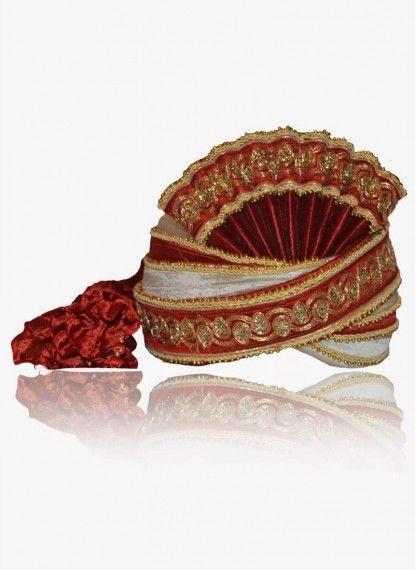 Pristine Offwhite & Red Rawsilk Turban