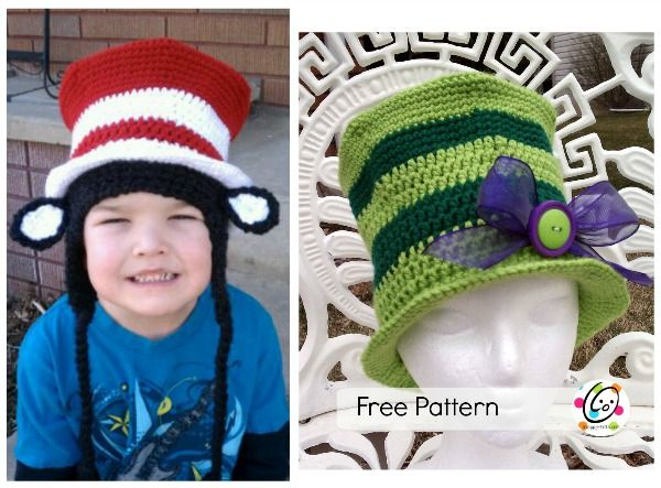 """I designed this hat for my son to wear for Dr. Seuss' Birthday (March 2). The top hat can also be made to be worn separately. A Cat in My Hat Materials Yarn: worsted weight yarn in red, white, black; Lion Brand Homespun Black Crochet Hooks: I Miscellaneous: yarn needle Gauge: 4"""""""
