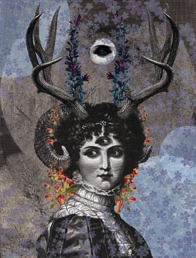 Dan Hillier - Stag Lady. Victorian Collage.