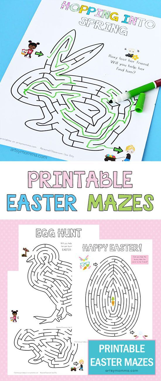 Printable Easter Activity for Kids - Egg, Chick, & Bunny Mazes