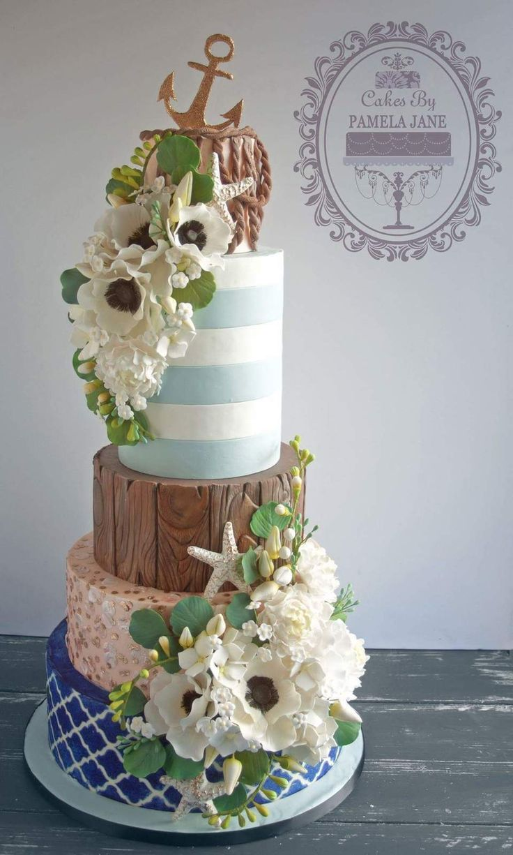 Elegant Nautical Wedding Cake When Designing This I Was Inspired By The Colors And Textures Of Ocean Beach Themes