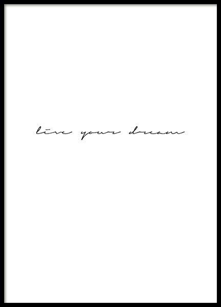 Live your dream, poster met tekst met handgeschreven stijl