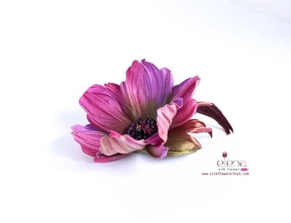 Silk Flower Brooch  We teach how to make silk flowers inspired by Nature   http://www.silkflowerartist.com/
