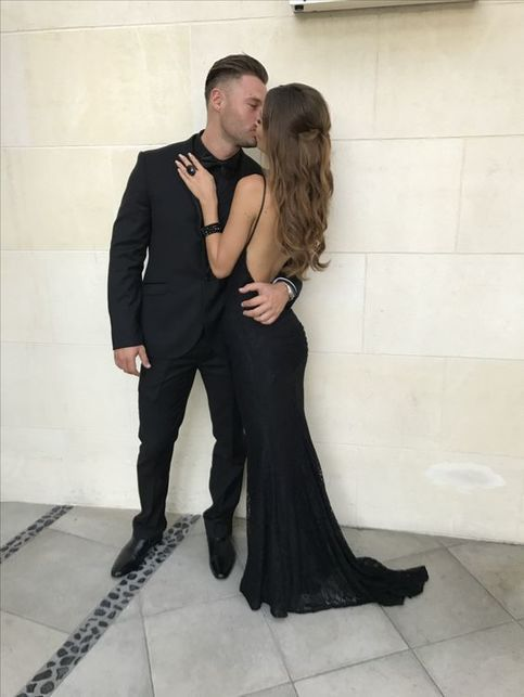 Sexy Backless Black Lace Mermaid Prom Dress Fitted Party Dress from Ulass