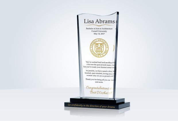 Parents looking for graduation gifts should consider this crystal remembrance that their children can treasure forever. Personalized with inspirational quotes or messages, the Graduation Gift Plaque from Parents will charm your graduate for years. #graduation #university #graduate #grad #gift #giftideas #graduationgift #crystal #crystalplaque #diyawards #diy