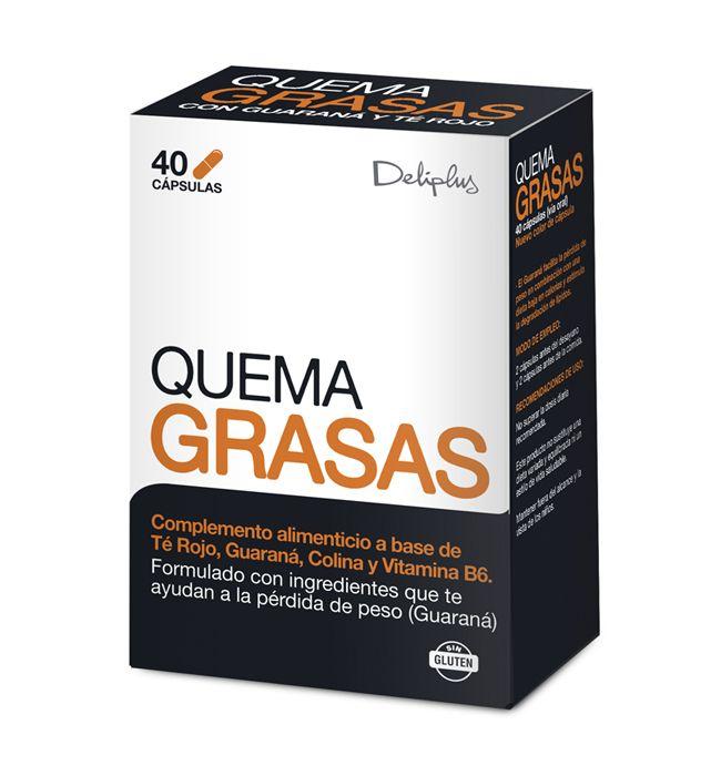 QUEMAGRASAS Complemento alimenticio a base de Té Rojo, Guaraná, Colina y Vitamina B6. Formulado con ingredientes que te ayudan a la pérdida de peso (Guaraná). El Guaraná facilita la pérdida de peso en combinación con una dieta baja en calorías y estimula la degradación de lípidos.