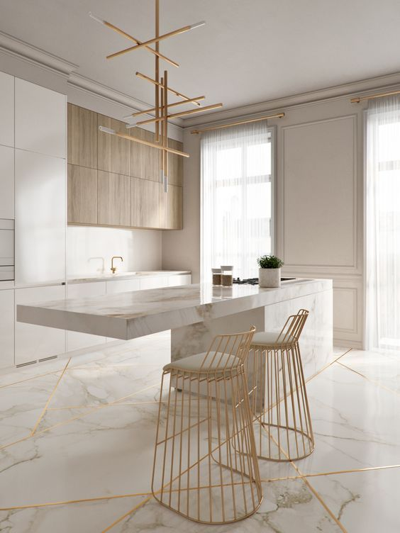 Clear marble and wood kitchen