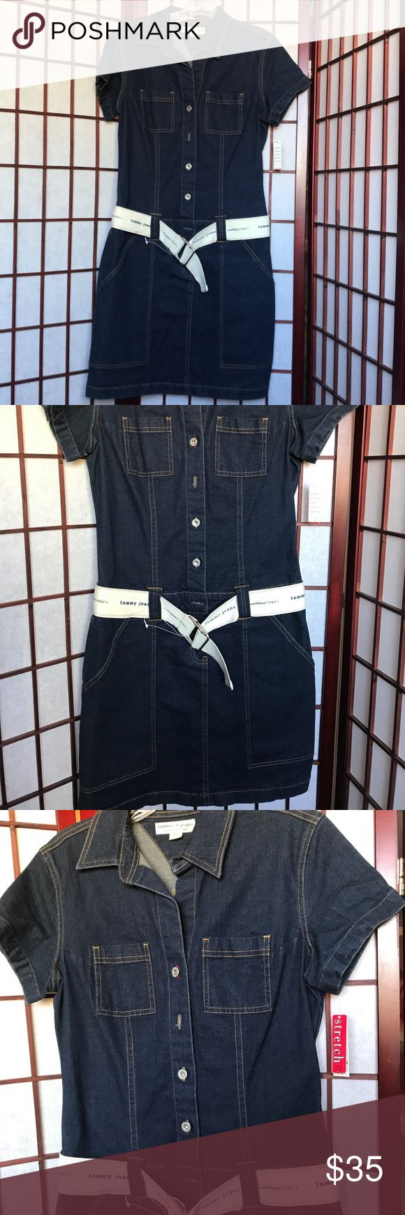 "Denim dress Medium size Stretch denim dress , navy blue Never been used. Length from the collar to the seam is approx 37.5"". I am petite and its long for me. Tommy Hilfiger Dresses"