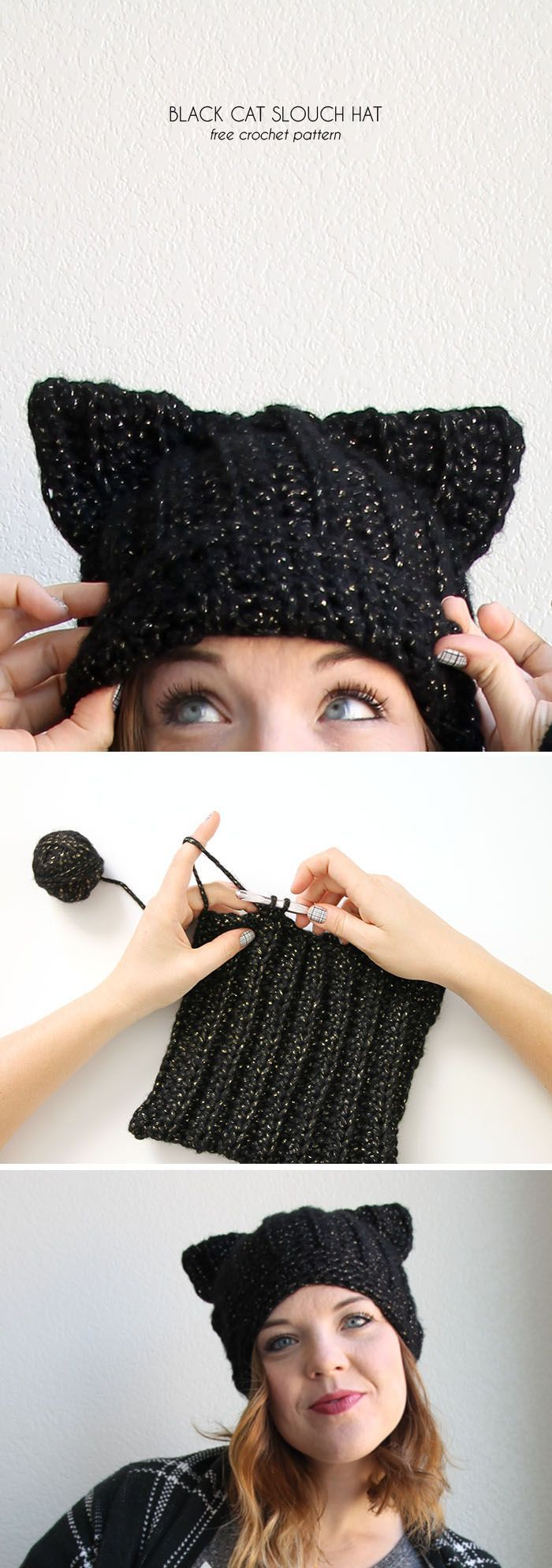 black trainers black cat hat   free crochet pattern from www persialou com