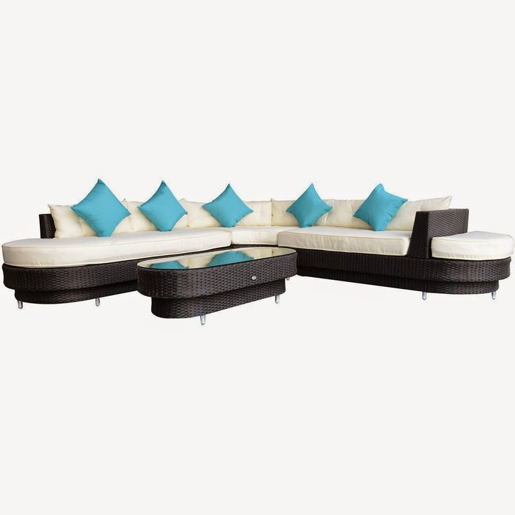 Outsunny 4 pc Deluxe Outdoor Patio PE Rattan Wicker Oval Sofa Sectional Furniture Set