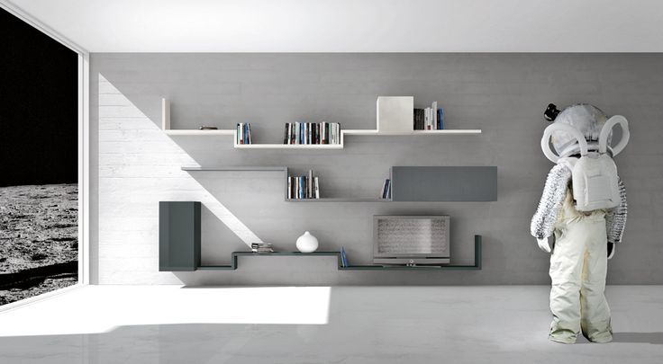 Déguisementcosmonaute  Ce meuble tv design a été réalisé grâce à 3 modules à porte fermée de la gamme 36e8 Side Storage et d'étagères du système LagoLinea, conçu pour offrir une liberté d'expression murale maximale. Une seule ligne de 30 mm d'épaisseur dessine, raconte et contient en un geste simple, tel un trait sur une feuille.     #lago #design #module36e8 #compo #linéa #etagère #bibliothèque #meubletv
