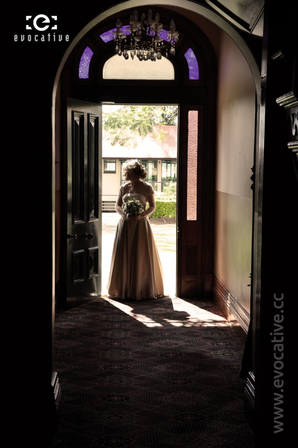 Caitlin in one of the Mansion's grand entrances at Woodlands of Marburg. #WeddingPhotography