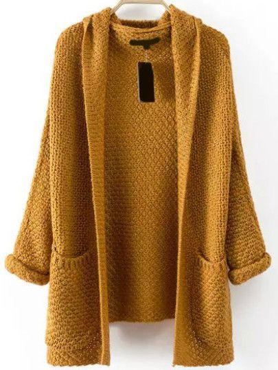 Pockets Chunky Knit Khaki Coat Shein.com