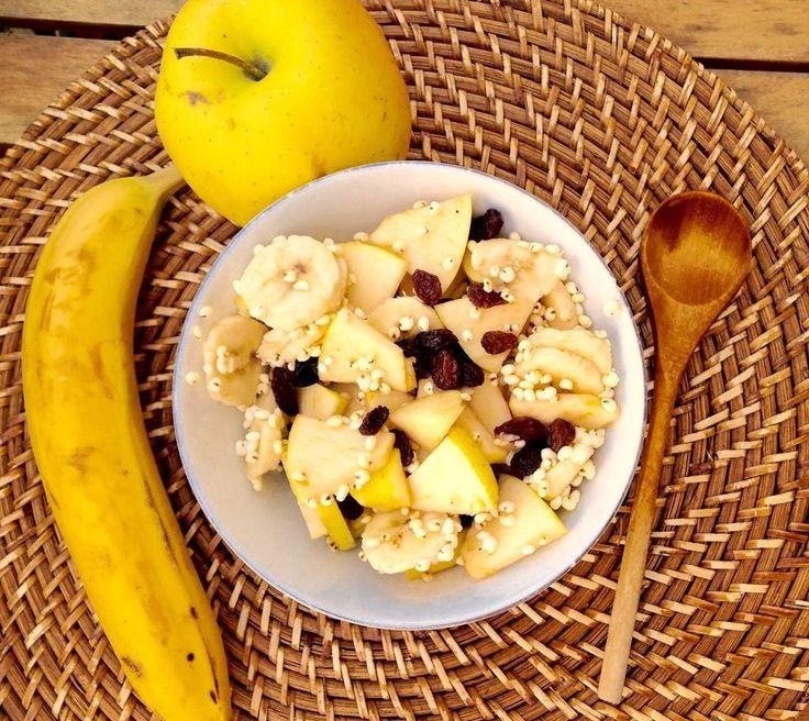 Macedonia di frutta dolce, con amidi e mela: un mix di calorie super energetico, ricco di fibre, magnesio potassio e bioflavonoidi. Niente di meglio per cominciare la giornata a tutto gas!