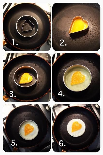 DIY Heart Eggs using cookie cutters #love #breakfast #sweet - this gives me an idea for egg in a nest, egg in a basket or egg in the hole (it all depends on what you were raised with)