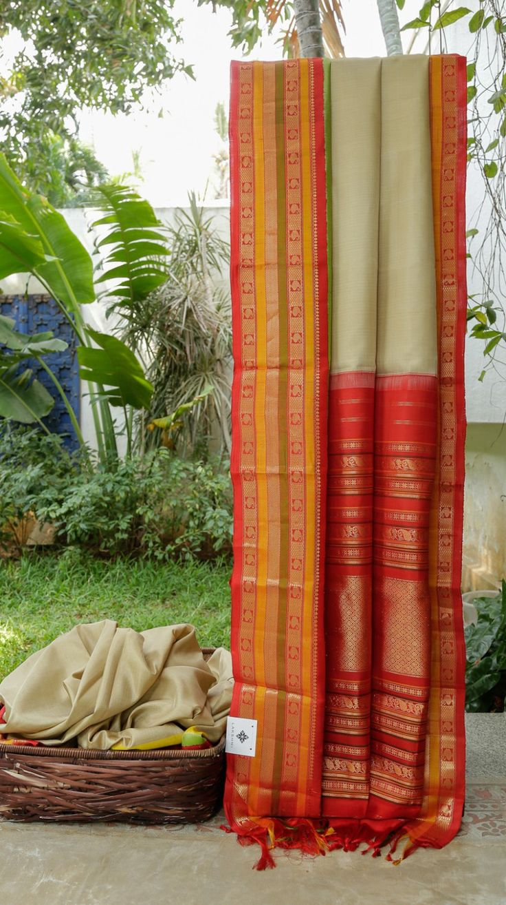 Passion homes borders gold zardozi border handmade designers - This Gadwal Silk Is In Plain Hazelwood Tan The Border Has Bands Of Cherry Red