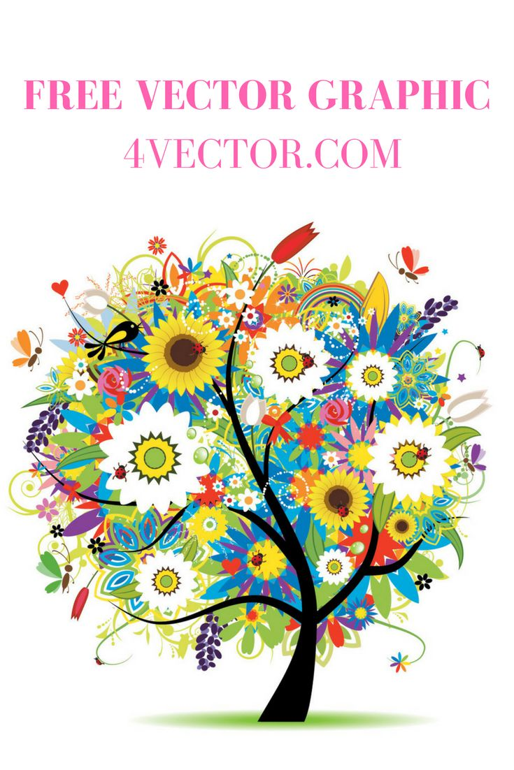 Green floral design vector graphic free vector graphics all free - Seasons Tree Vector Free For Download At 4vector Com Free Vector Graphics