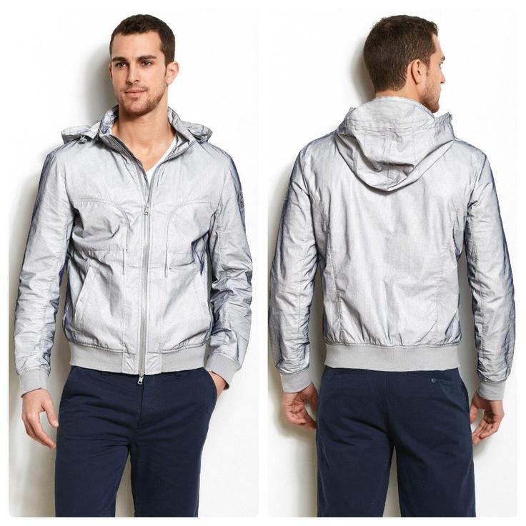 Armani Exchange Nylon Mesh Hooded #Jacket - $150  Reflective wing logo patch at arm