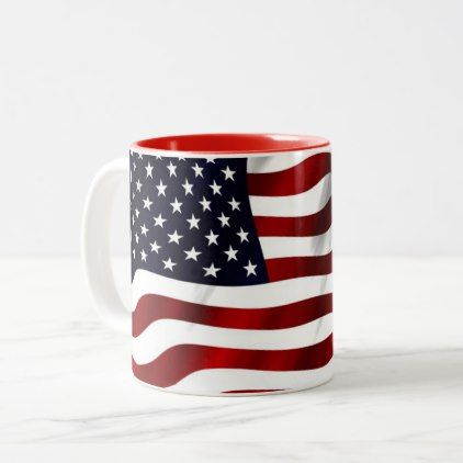 USA flag Two-Tone Coffee Mug - pattern sample design template diy cyo customize