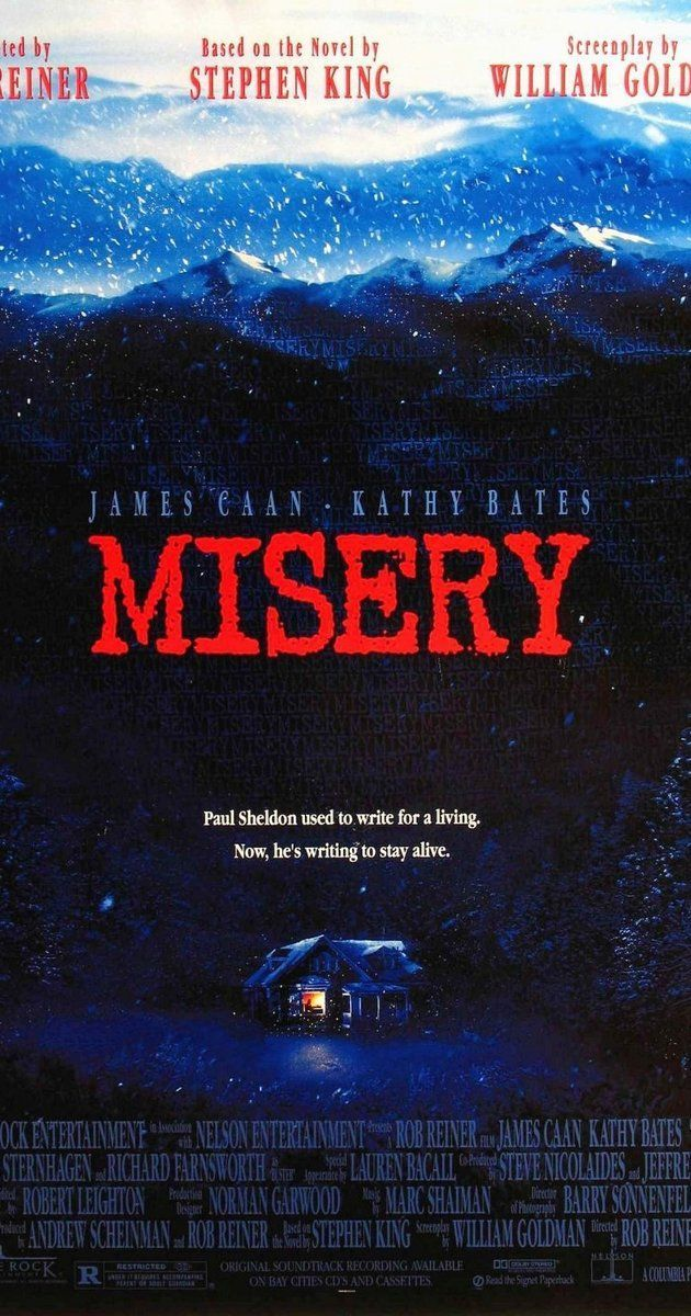 Directed by Rob Reiner.  With James Caan, Kathy Bates, Richard Farnsworth, Frances Sternhagen. After a famous author is rescued from a car crash by a fan of his novels, he comes to realize that the care he is receiving is only the beginning of a nightmare of captivity and abuse.