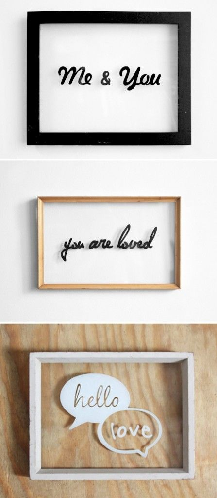 Hand drawn typography on glass frames created using sharpie pens - 17 DIY Decorating Ideas With Frames