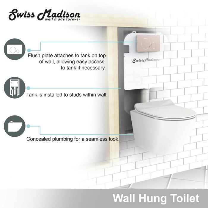 St Tropez Dual Flush Elongated Wall Mounted Toilets Seat