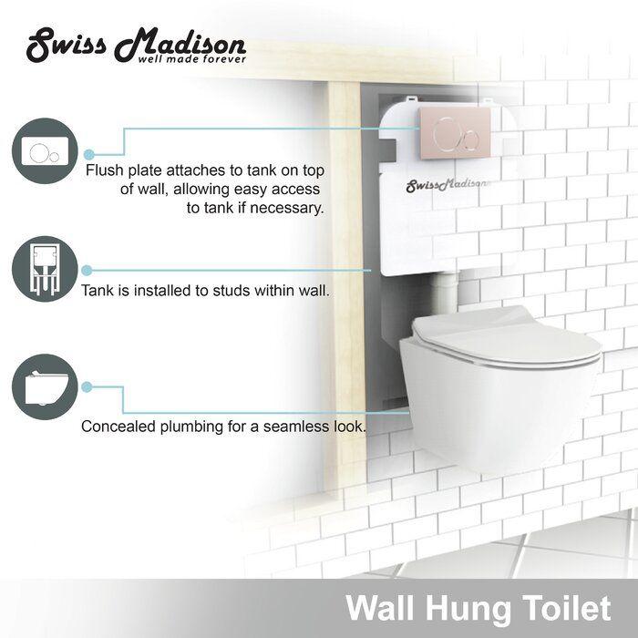 St Tropez Dual Flush Elongated Wall Mounted Toilets Seat Included Wall Hung Toilet Wall Mounted Toilet Toilet Bowl