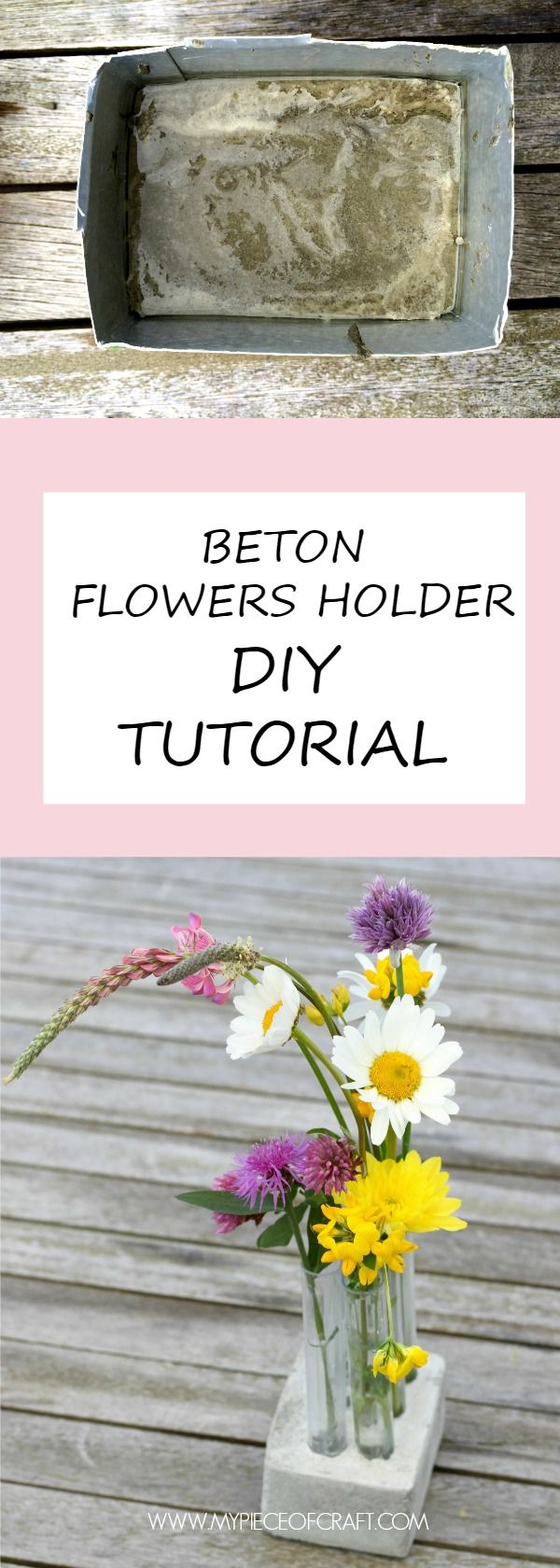 A step-by-step tutorial to make easy & beautiful flowers holder made of beton (concrete)
