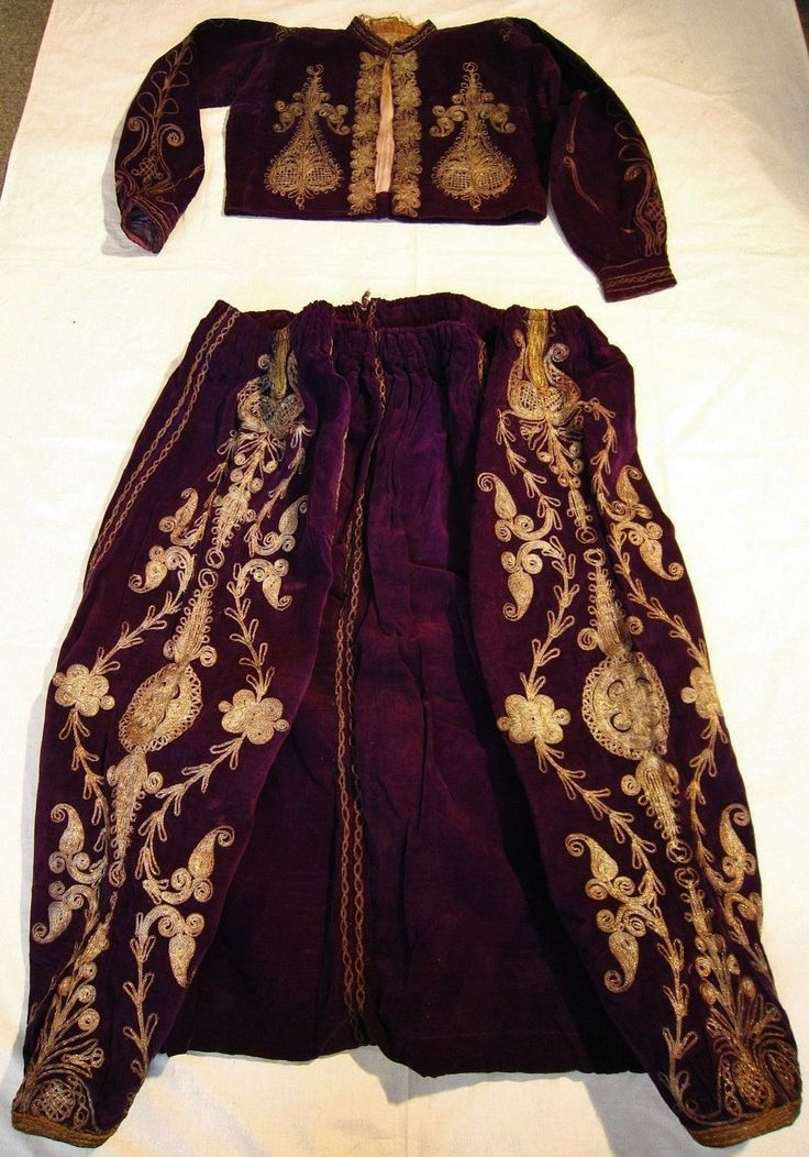 Ceremonial man's ensemble (vest & trousers) from (Central?) Bulgaria.  Turkish style, ca. early 20th century.  Velvet, embroidered with 'golden' metal thread.
