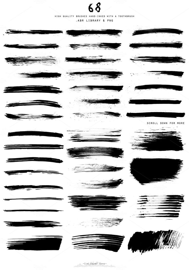 Hand-Inked ToothBrush Photoshop Brushes. Brush strokes for ogham tattoo.