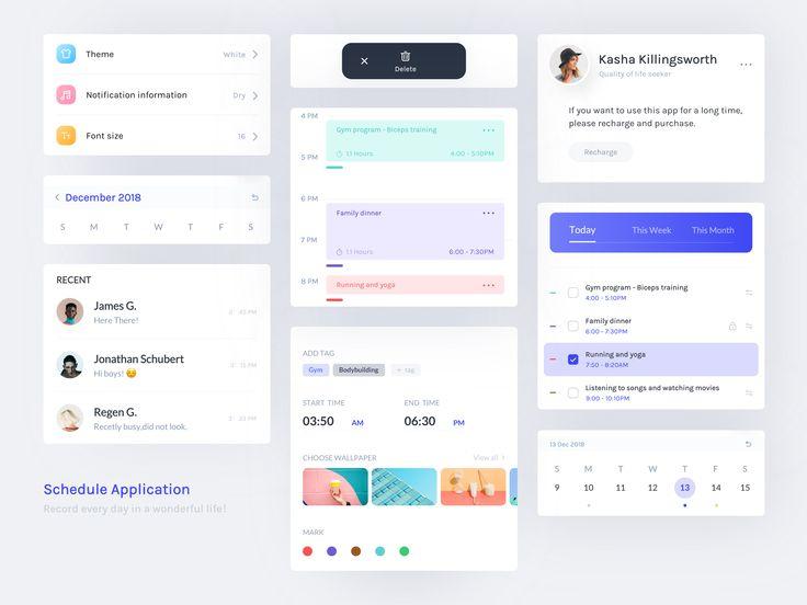 Schedule application Schedule design, Interactive design