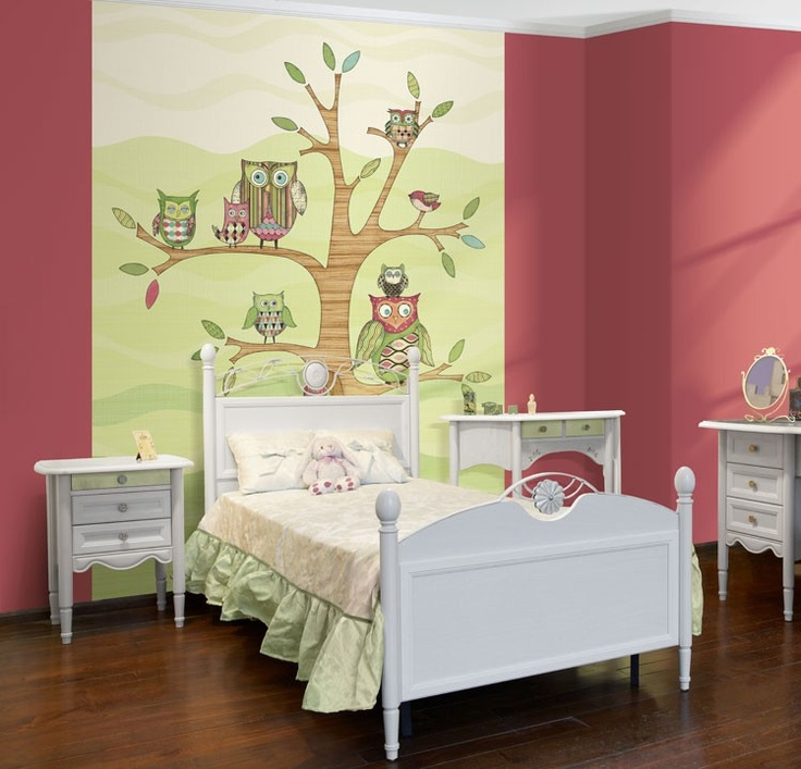 buy your owl wall mural in pink here this pre pasted wall mural features adorable owls perched on a tree these owls would love to join your kids room or
