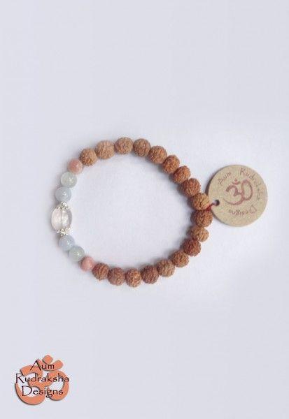 Rose Quartz, Aquamarine, Chalsedony, Rhodocrosite stones and Gold Plated Sterling silver beads #aum #rudraksha #beads #bracelet #jewellery #rosequartz #aquamarine #chalsedony #rhodocrosite #silver #goldplated #bali