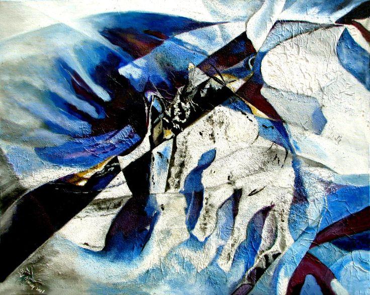 Like a bird in the wind Abstract schilderij in blauw en wit. Vogels en wilde wolkenluchten waren mijn inspiratiebron. Geschilderd met acrylverf en gemengde techniek op doek van 75x95x4 cm. Zowel horizontaal als verticaal op te hangen. Elly Maessen