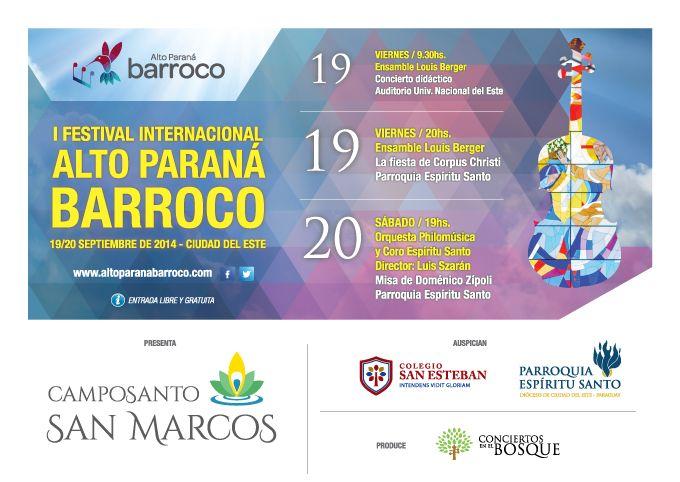 #AltoParanáBarroco en sitio del Colegio San Esteban, sponsor del festival. @APBarroco.