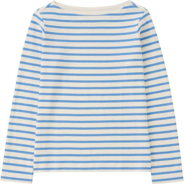 UNIQLO Striped Boat Neck Long Sleeve T-Shirt ($19) ❤ liked on Polyvore featuring tops, t-shirts, striped tee, uniqlo t-shirts, stripe tee, cotton t shirt and long sleeve t shirt