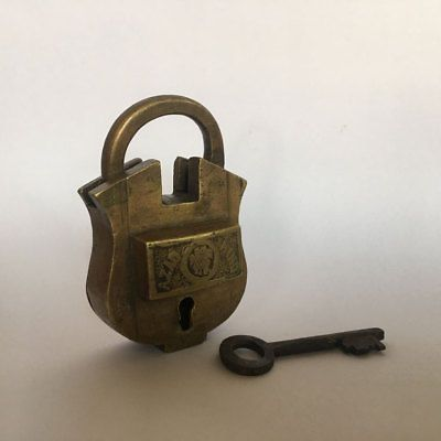 old antique solid brass small padlock lock with key RARE shape AZAD HIND -- Antique Price Guide Details Page