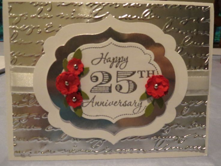 25th Anniversary card for my husband, Stampin' Up Memorable Moments