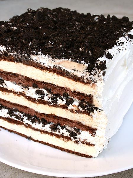 Oreo Ice Cream Cake- I barely got two layers of everything to fit in a 9x13 dish with a raised cover. I didn't use plastic wrap, invert the cake or frost it, I just plunked everything in a dish, covered and froze it. It was amazing!