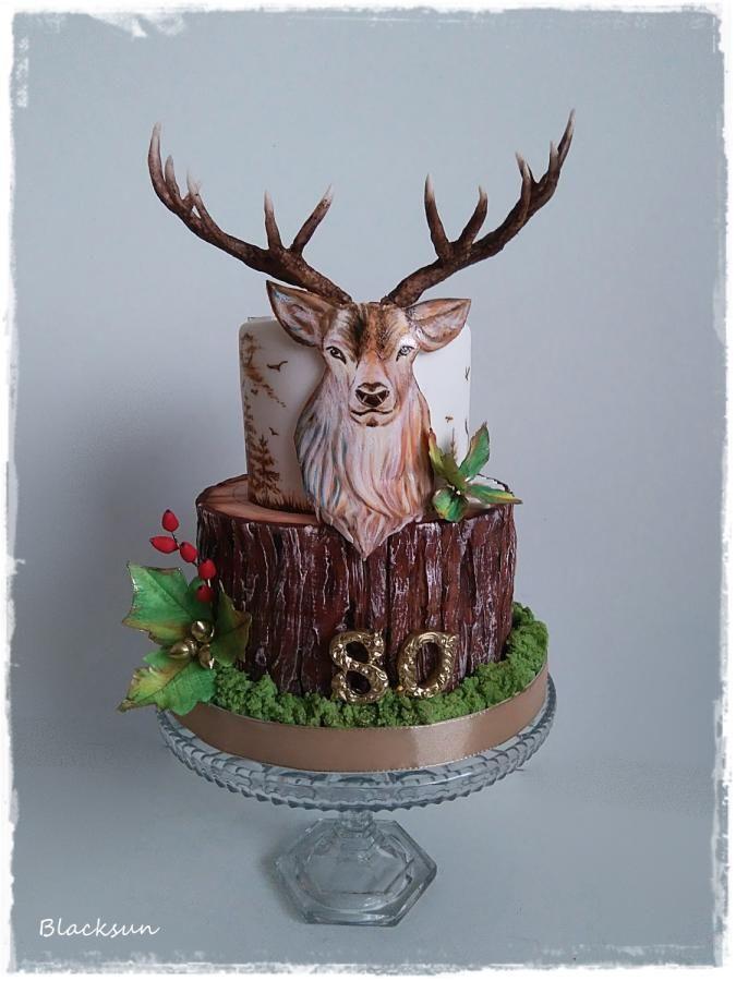 Prime Hand Painted Deer By Blacksun Deer Hunting Cake Deer Cakes Birthday Cards Printable Inklcafe Filternl