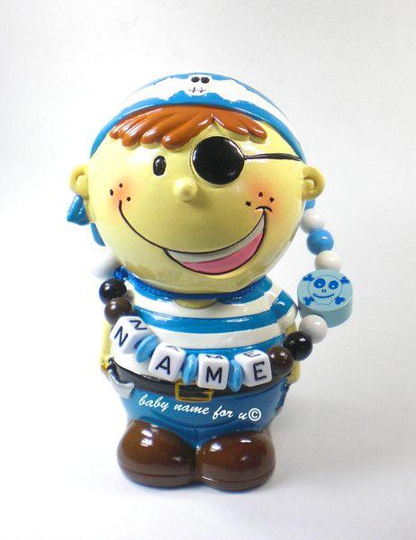 Spardose+mit+Namen++Pirat+Sparbüchse+Sparschein++von+Schnullerkette+by+baby+name+for+u+auf+DaWanda.com