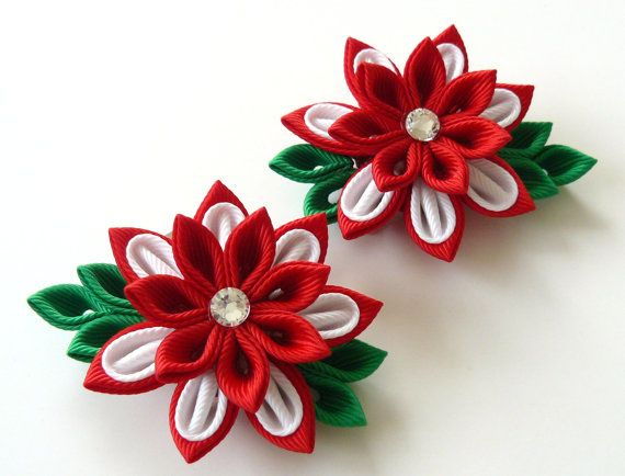 Kanzashi Fabric Flowers Set Of 2 Hair Clips Red And
